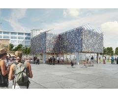 Tijdelijk People's Pavilion gemaakt van 100 % geleende materialen